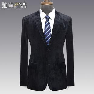 雅库男装中青年男士休闲单西便西西装 时尚丝绒拼接西服外套包邮