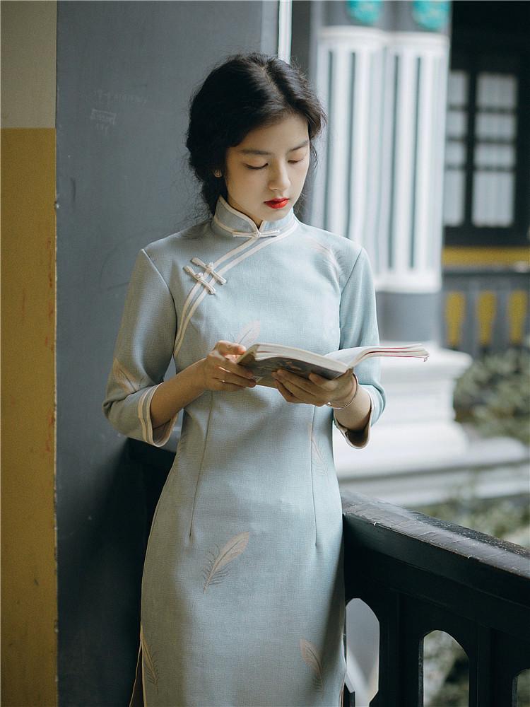风旗袍改良版连衣裙年轻款少女