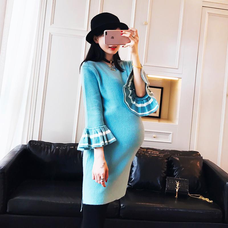 孕妇装秋装新款韩版宽松大码怀孕期外出服中长款针织孕妇连衣裙潮
