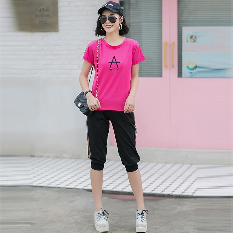 2020新款夏季运动套装女夏天宽松短袖七分裤运动装休闲两件套满35元减5元
