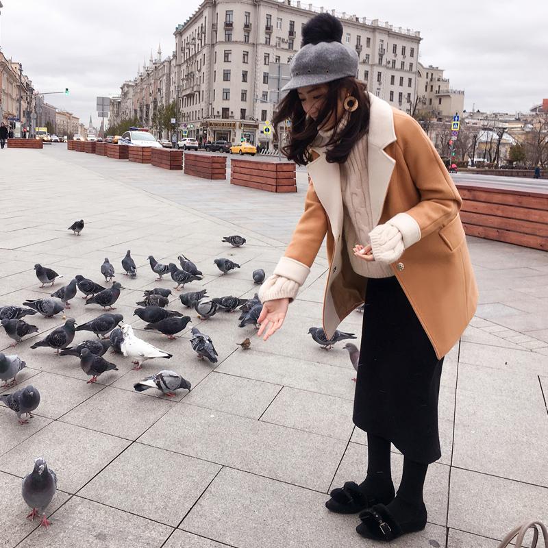 谜秀小个子毛呢外套女中长款2017秋冬装韩国ulzzang茧型呢子大衣