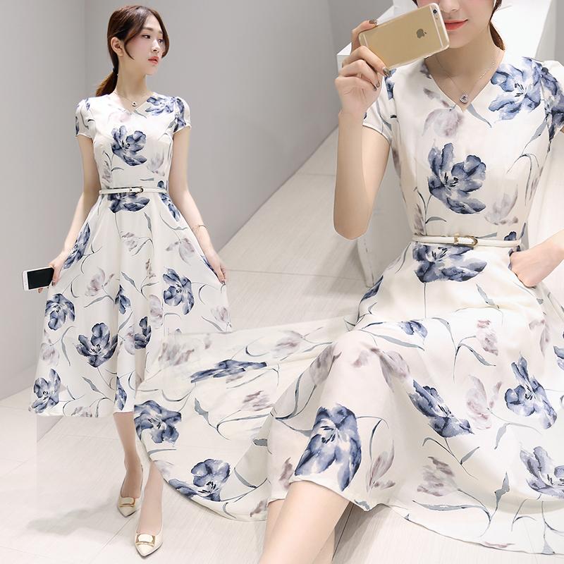 夏季2018新款女装韩版中长款气质印花棉麻裙子修身大摆V领连衣裙