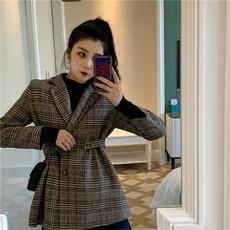 毛呢外套女中长款宽松格子西装外套冬季大衣女2019流行韩版百搭潮
