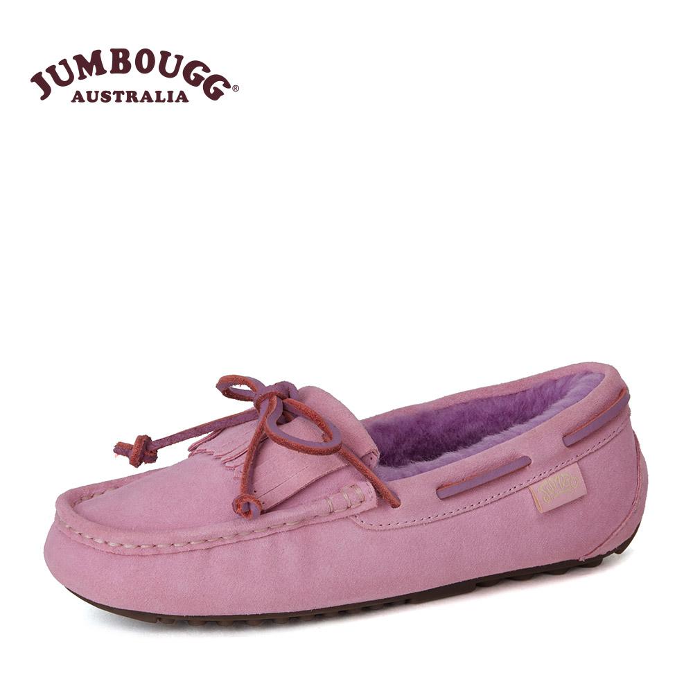 JUMBOUGG简帛冬季羊皮毛一体豆豆鞋女休闲鞋单鞋平底鞋保暖2568