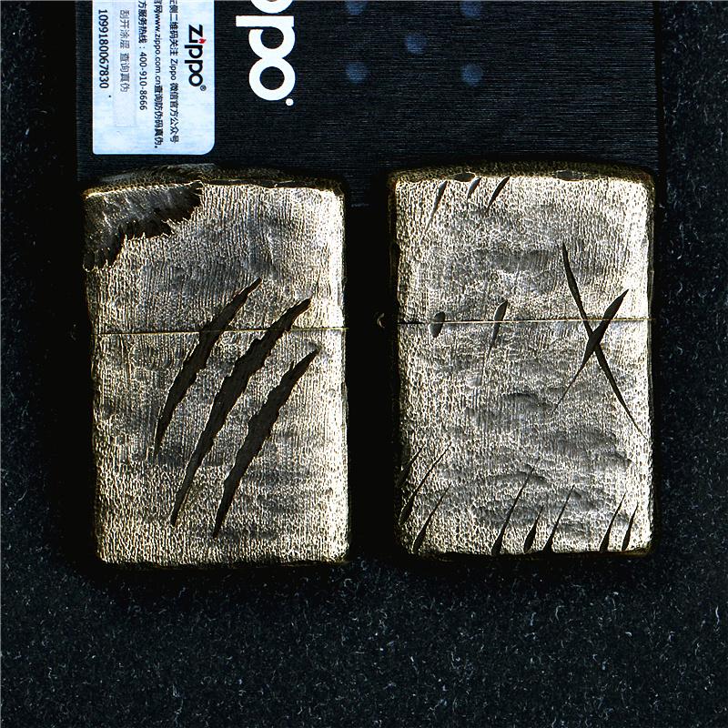 正品zippo芝宝防风打火机纯铜盔甲168古铜复古做旧子弹痕刀痕爪痕