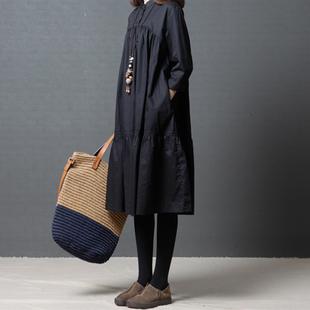 大码女装2018秋季新款文艺胖mm宽松休闲立领中长裙长袖纯色连衣裙