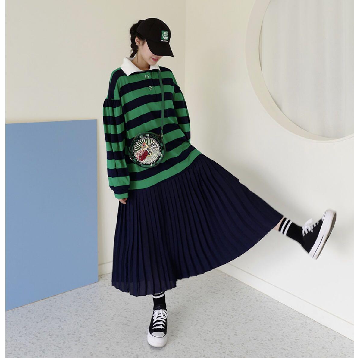 chic童趣学院条纹拼接POLO领长款连衣裙-辛迪Cindy-