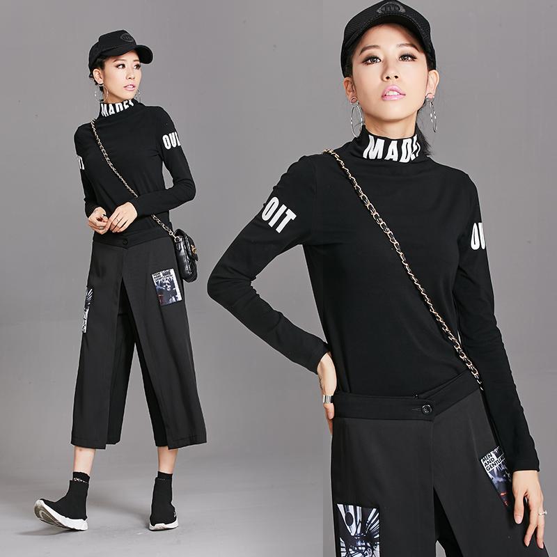 实拍9869-1#欧韩秋冬新款女装T恤字母高弹显瘦百搭外穿高弹打底衫 -