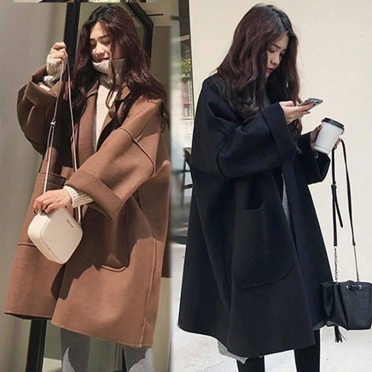 秋冬款宽松oversize廓形毛呢外套女韩版中长款茧型呢子大衣潮19P