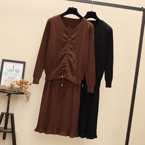 2018胖mm秋冬新款大码女装微胖妹妹针织衫毛衣半身裙两件套装减龄