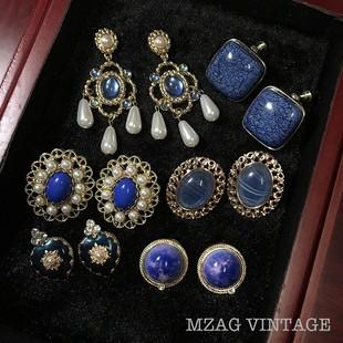 海蓝之谜复古宫廷风蓝色宝石耳钉