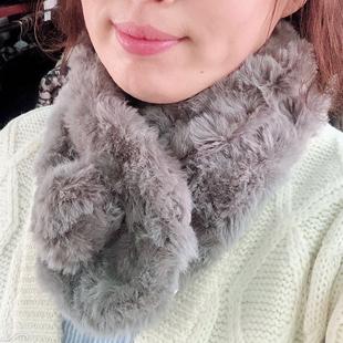 新款冬季双层保暖围巾围脖独家韩国进口面料柔软加厚个性百搭皮草