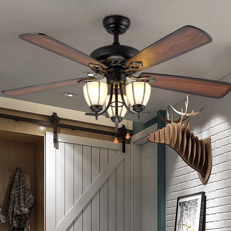 美式吊扇灯客厅餐厅欧式仿古灯扇加带电风扇吊灯北欧复古风扇灯具-馨语灯饰照明