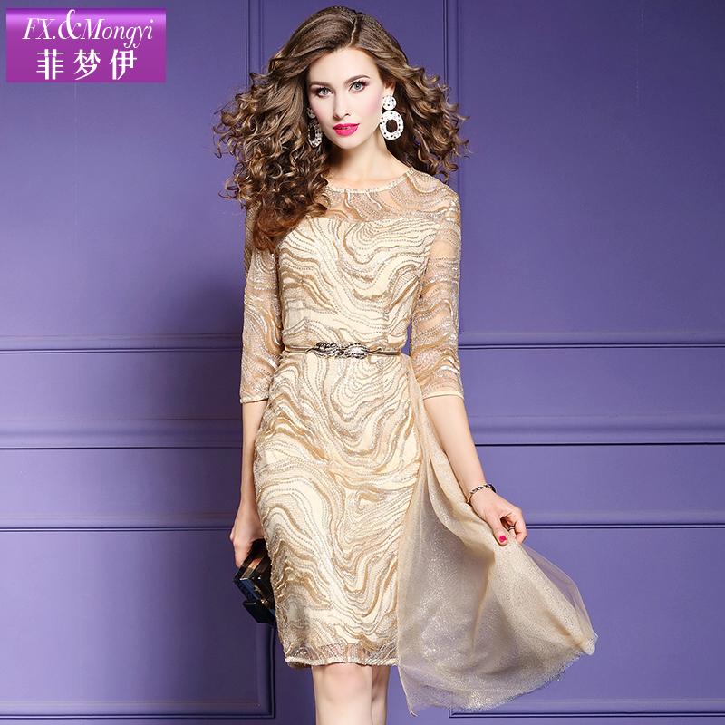 媛法式气质显瘦亮丝中长款裙子
