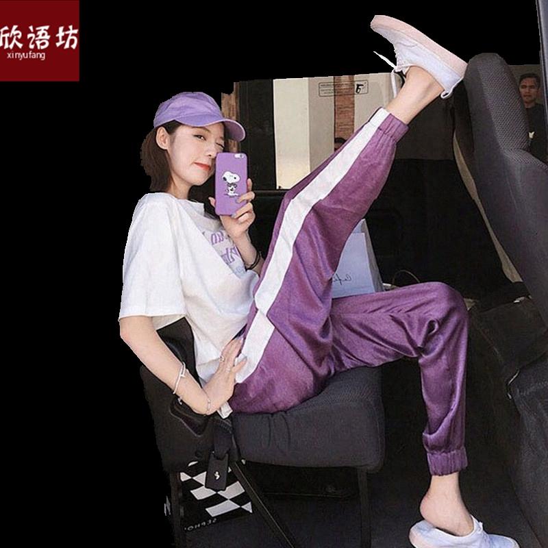 网红慵懒风套装女韩版宽松T恤ins超火的运动裤00后束脚裤子两件套