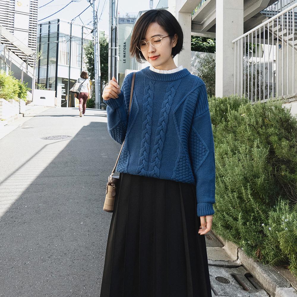 沫里秋冬 简约复古圆领编织厚毛衫 纯色宽松羊毛套头毛衣 M4606