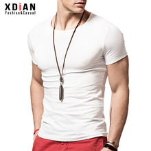 紧身t恤衫男短袖修身mi7动弹力体ei士纯棉白色半袖打底衫潮