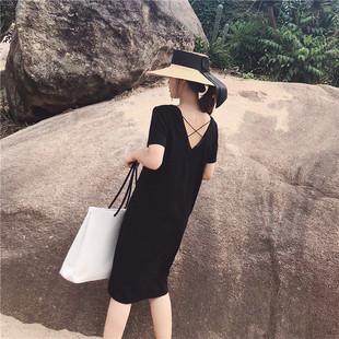 露背V领黑色 女夏2018新款