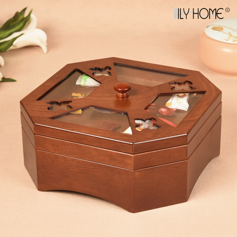 干果盒家用分格带盖客厅创意木质糖果零食盒子中式坚果瓜子水果盘