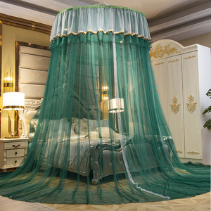New dome ceiling mosquito net Princess wind 1.8m bed double household encryption thick round hanging bed mantle free installation