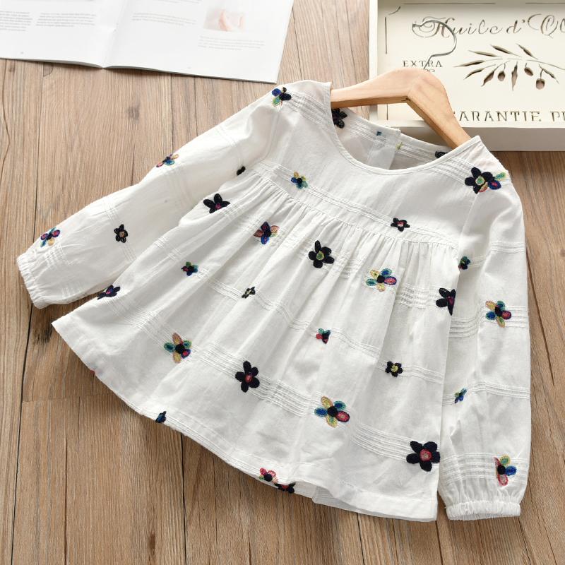 2018春季新款女童刺绣花朵娃娃韩版宽松衬衫松紧袖口百搭长袖衬衣