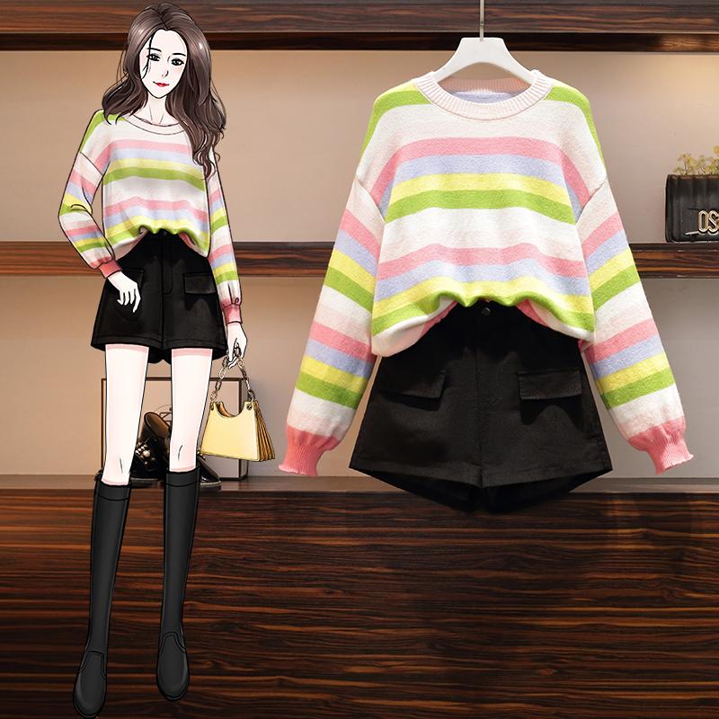 2020秋冬新款彩虹色针织毛衣+纯棉橡筋短裤大码套装大码两件套-熊猫-大码装-