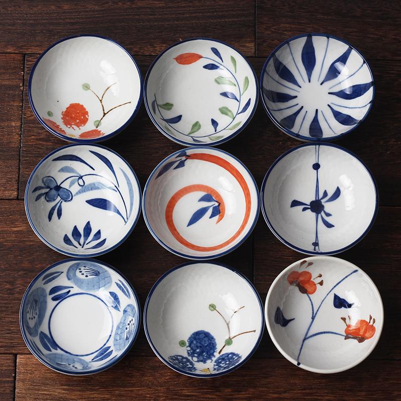 小碗碟3.5寸中日式和风餐具厂家釉下手彩绘青花瓷创意复古陶瓷碗