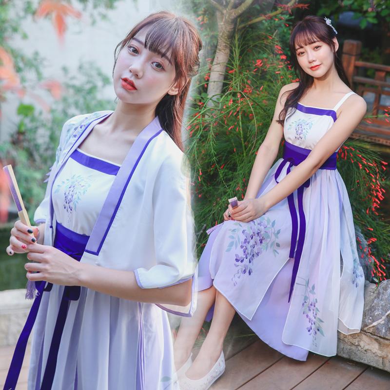 5818实拍改良汉服汉元素 套装 软妹复古 连衣裙 短袖防晒衫两件套 -
