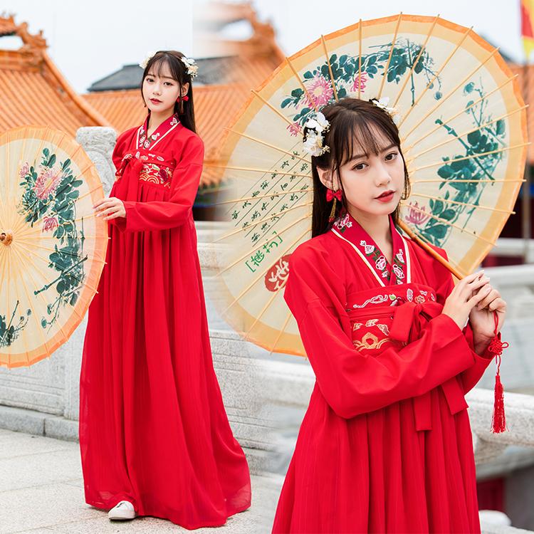 传统绣花大袖衫汉服齐胸襦裙大红色婚庆服 喜庆服舞蹈服广袖81078 -