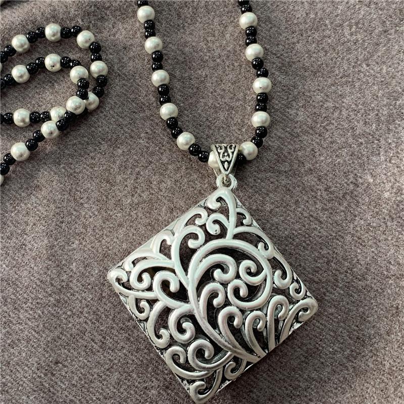 自然小鋪 原創設計銀飾毛衣鏈四方來財項鏈女士文藝百搭長毛衣鏈