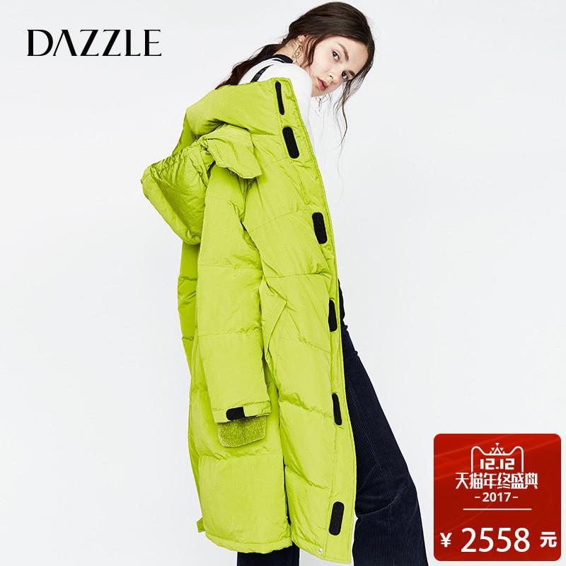 DAZZLE地素  17冬专柜新款 休闲时髦背带连帽宽松羽绒服2A4K4041O