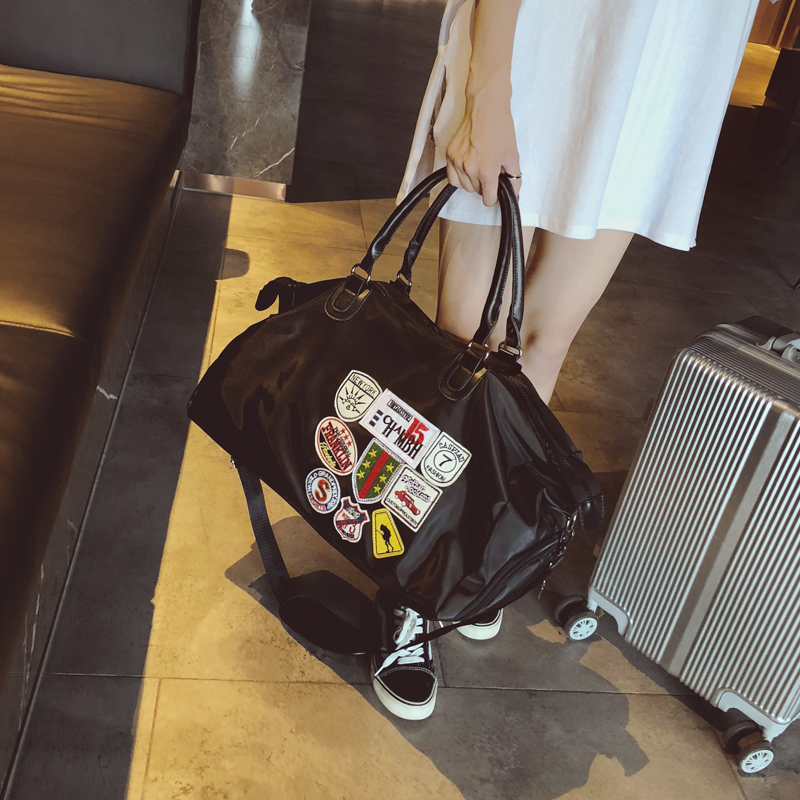 防水牛津纺手提旅行袋登机包出差包徽章男士健身包女士瑜伽包大包
