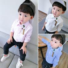 男童长袖衬衫秋装dw5秋童装儿ne色衬衣(小)童寸潮1岁3上衣婴儿