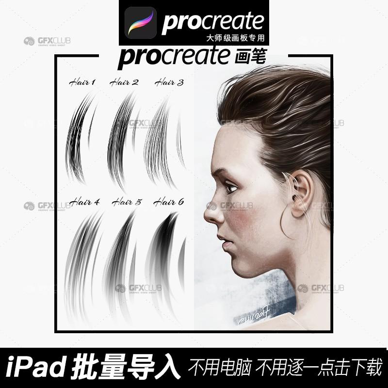 大师级画板Procreate笔刷6款手绘头发发髻插画草图人物画批量导入