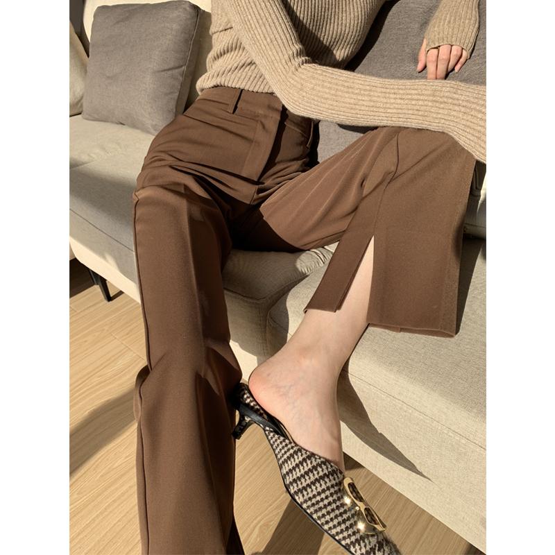 PAPERLLL西装裤女直筒宽松垂感春秋高腰显瘦长裤阔腿开叉休闲裤子