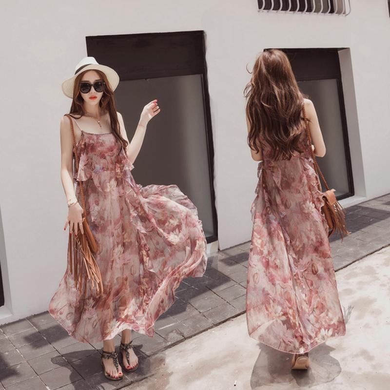 三亚沙滩裙女夏2017新款波西米亚连衣裙海滩长裙海边度假裙吊带裙