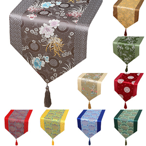 Yi Bixu Chinese brocade satin fashion festive table flag simple rural dining table tablecloth coffee table cloth rich bed flag