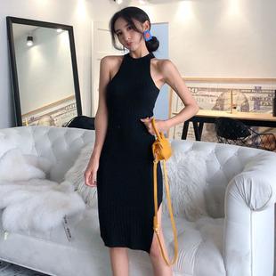 秋季2020韩版chic时尚复古港味显瘦气质挂脖针织连衣裙修身长裙潮图片