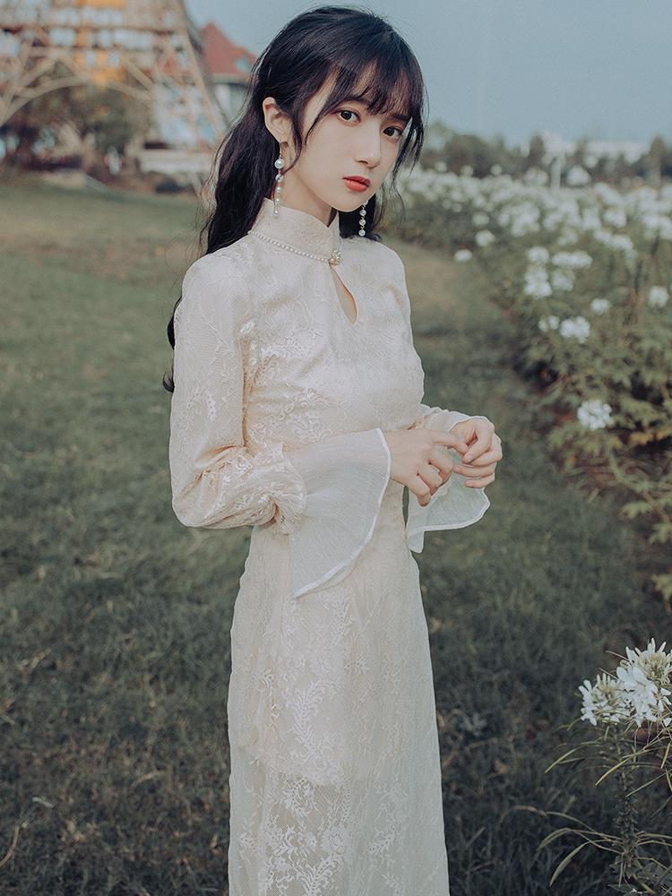 秋冬季改良旗袍年轻款少女中国风复古长款气质内搭仙女蕾丝连衣裙
