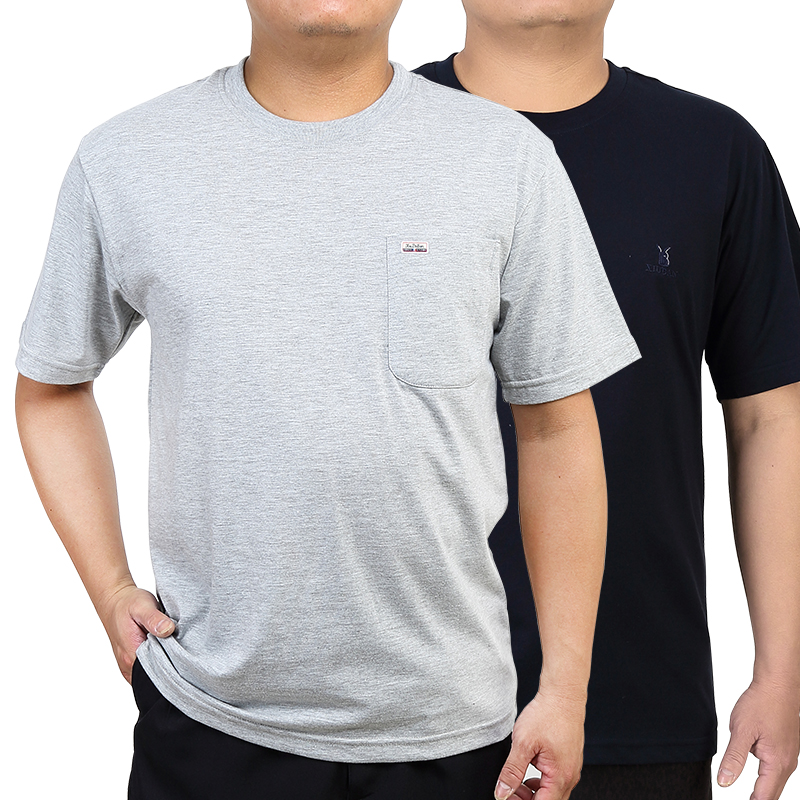 中年男士短袖t恤圆领棉夏季爸爸装中老年宽松父亲爷爷口袋汗衫薄