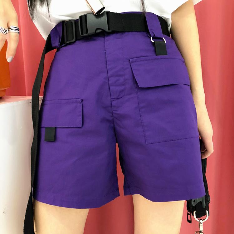 原宿bf港风ulzzang嘻哈ins超火的裤子紫色松紧腰工装裤口袋短裤女