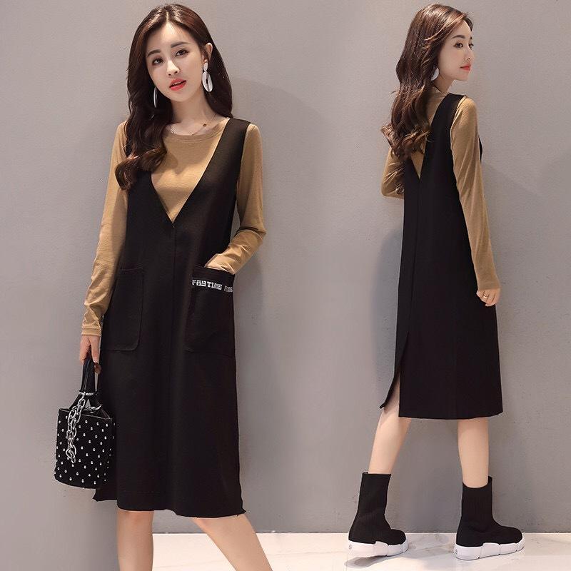 时尚套装裙女2018秋季新款韩版宽松背带裙中长款显瘦连衣裙两件套