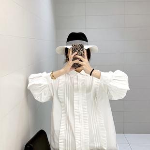 白色灯笼袖衬衫女洋气很仙的上衣心机设计感小众韩版宽松长袖衬衣