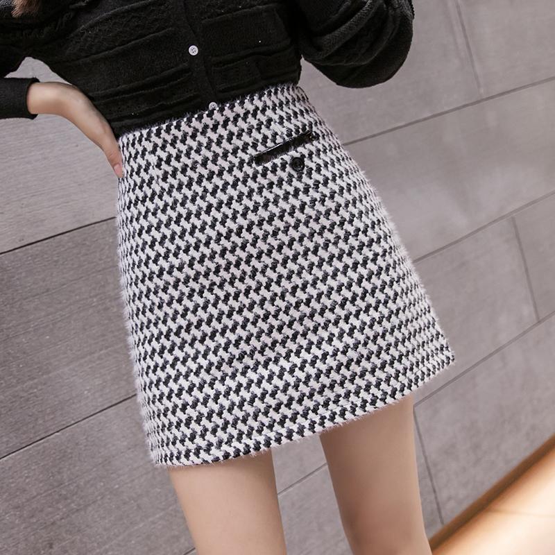 实拍2020冬季新款百搭小香风粗毛呢显瘦半身裙 A字裙-佩佩服饰-