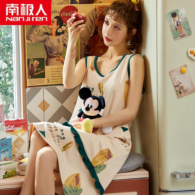 南极人背心睡裙女士夏季纯棉薄款无袖睡衣韩版可爱卡通吊带连衣裙满27元减5元