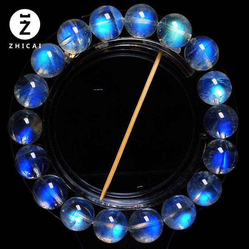 天然水晶 玻璃体蓝月光石手链 冰种彩虹光女款手串 白月光石手链