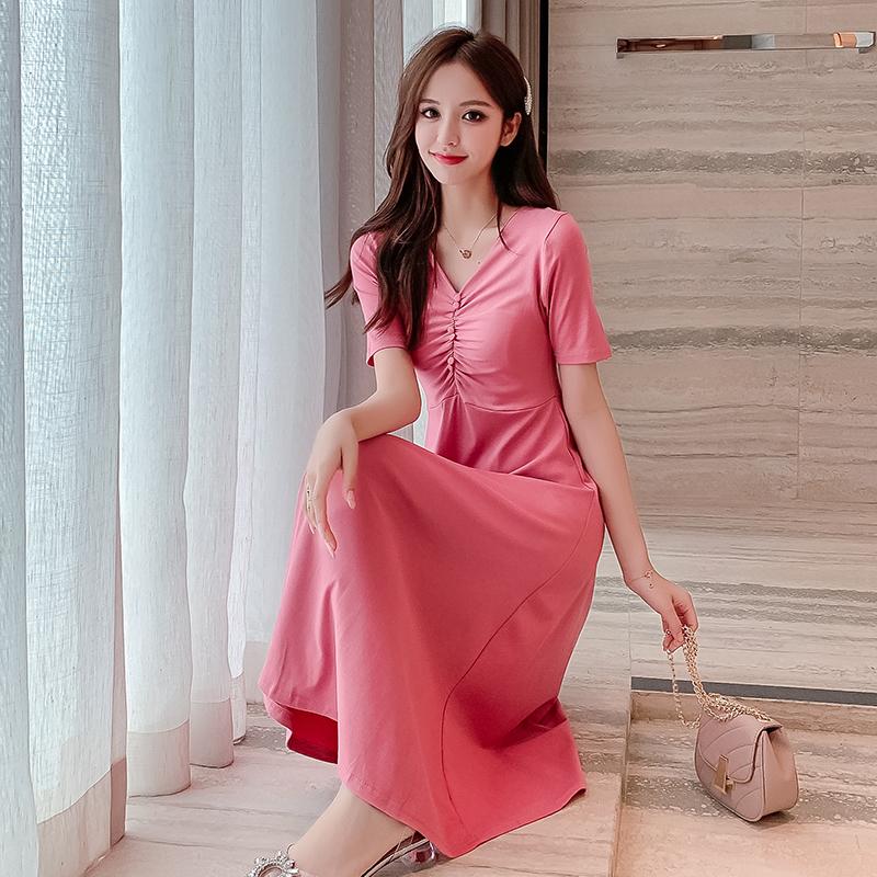 实拍935夏季新款v领连衣裙女纯色气质修身复古法式桔梗洋气中长裙-衣缘实拍店-
