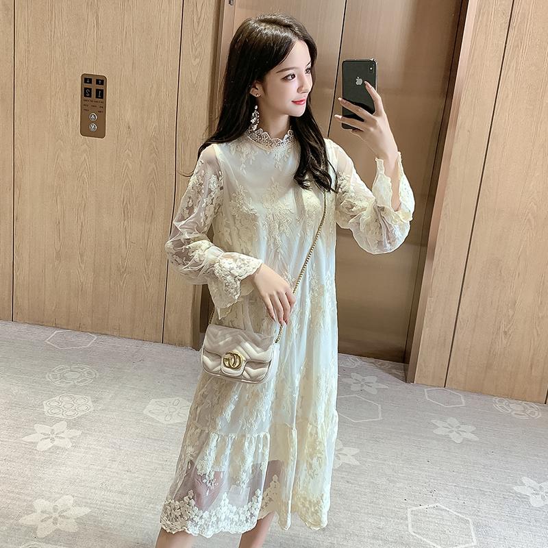 实拍906#2020春装新款百搭气质很仙的蕾丝连衣裙中长款打底显廋女-衣缘实拍店-