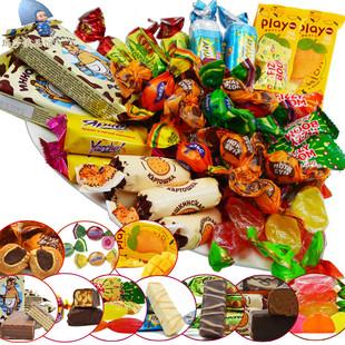 俄罗斯进口混合糖果组合巧克力奶糖水果软糖硬糖10种口味500g包邮