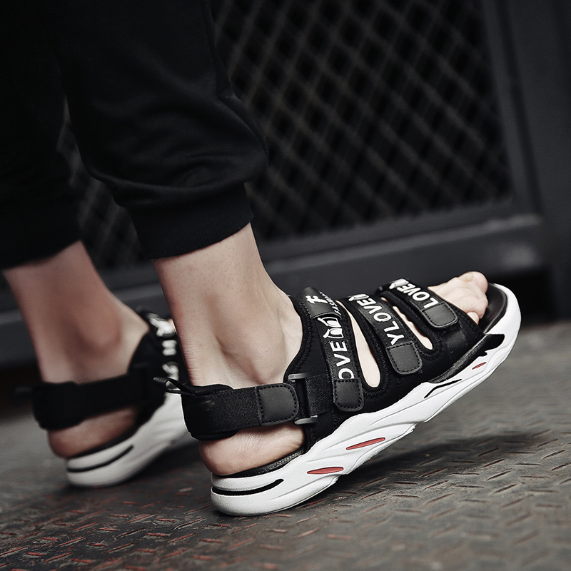 宾木夏天个性软底拖鞋男室外韩版潮流一字拖两穿凉鞋男生学生凉拖